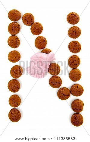 Ginger Nuts, Pepernoten, In The Shape Of Letter N Isolated On White Background