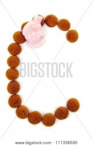 Ginger Nuts, Pepernoten, In The Shape Of Letter C Isolated On White Background