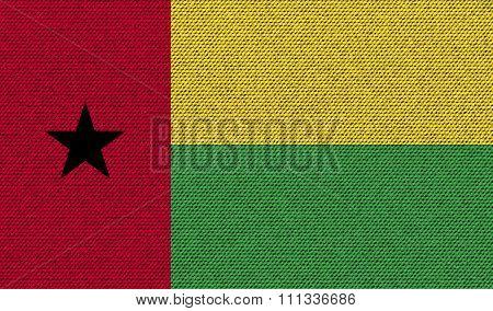 Flags Guineabissau On Denim Texture.