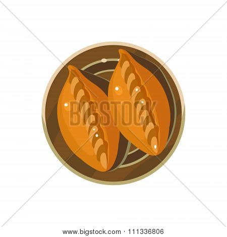 Homemade Pies Served Food. Vector Illustration