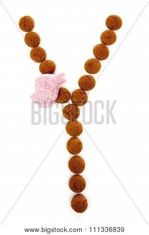 Ginger Nuts, Pepernoten, In The Shape Of Letter Y Isolated On White Background