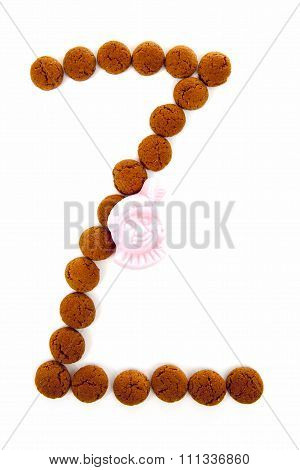 Ginger Nuts, Pepernoten, In The Shape Of Letter Z Isolated On White Background