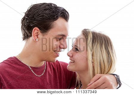 Young Couple In Love Over White Background