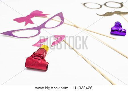 Utensils For Party On White Background