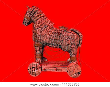 Warning symbol for the computer virus Trojan horse