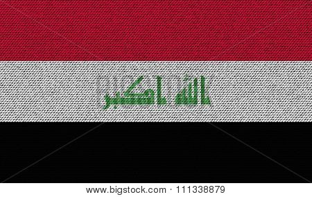 Flags Iraq On Denim Texture.