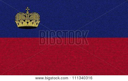 Flags Liechtenstein On Denim Texture.