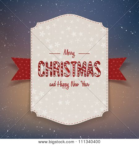 Christmas realistic big paper Banner with Ribbon