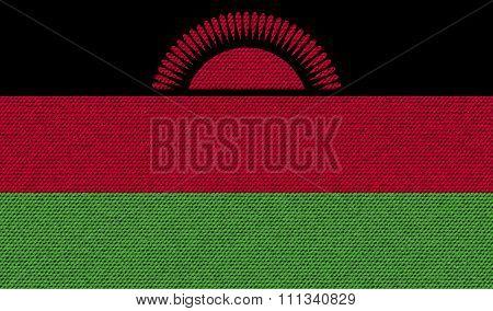 Flags Malawi On Denim Texture.