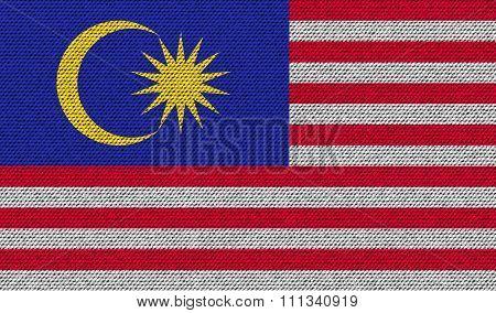 Flags Malaysia On Denim Texture.