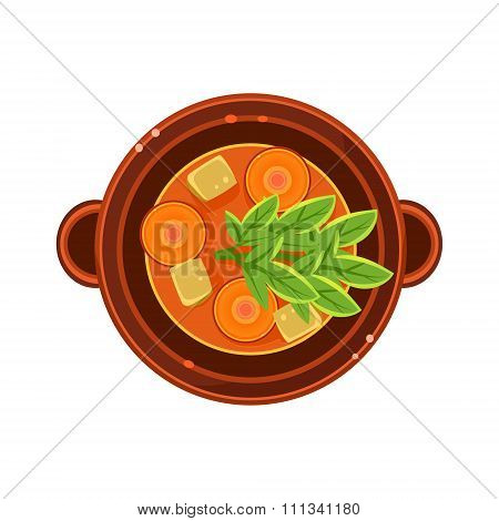 Vegetable and Carrot Soup in a Bowl Served Food. Vector Illustration