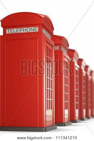 Red Telephone Boxes In A Row. 3D Rendering.