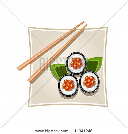 Sushi with Caviar and Sticks Served Food. Vector Illustration