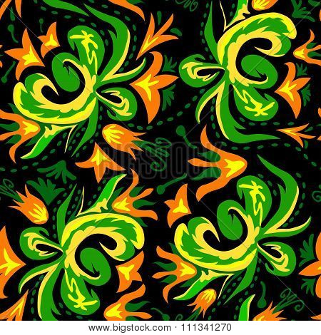 Traditional Russian Vector Seamless Pattern In Khokhloma Style On Dark Background