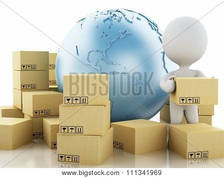 3D White People With Cardboard Boxes. Delivery Concept