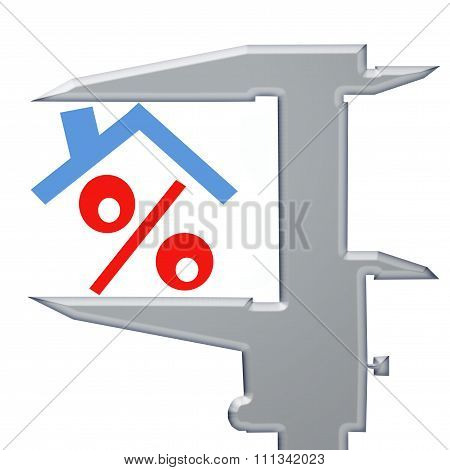 The percent sign under the roof