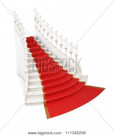 Red Carpet On Stairs. 3D.