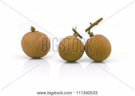 three longans fruit on white background