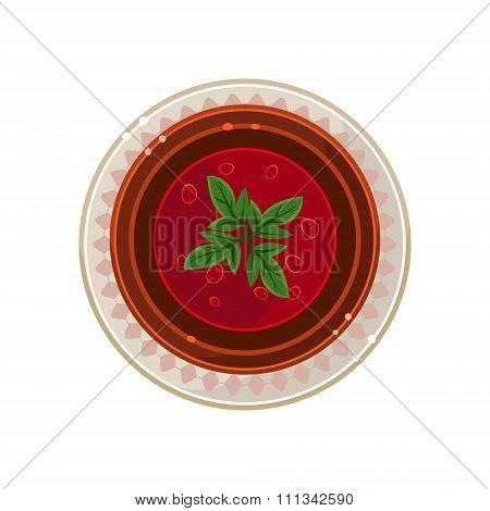 Borscht in a Bowl Served Food. Vector Illustration