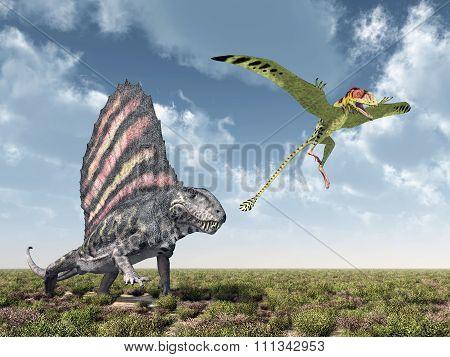 Dimetrodon attacks Peteinosaurus