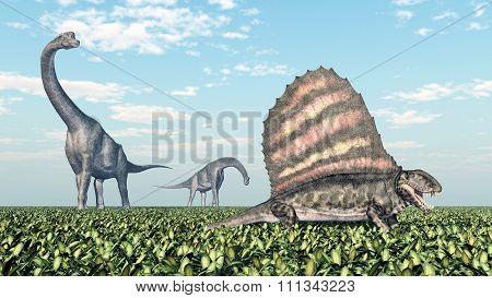 Brachiosaurus and Dimetrodon