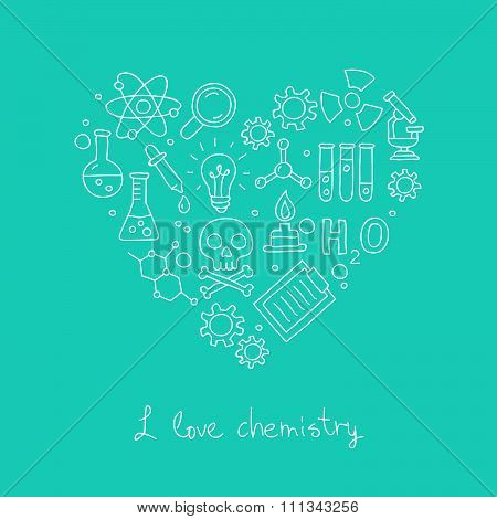 Icons for chemistry in the form of heart