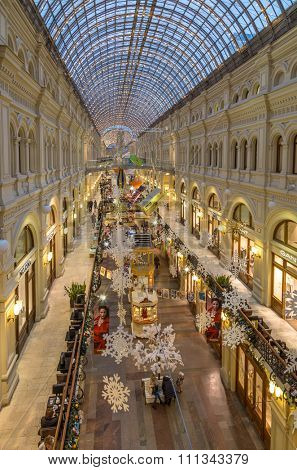 Moscow, Russia - December 8, 2015: Christmas holiday interior in the Main Department Store (GUM), Moscow, evening