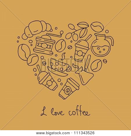 Coffee icons in the shape of a heart