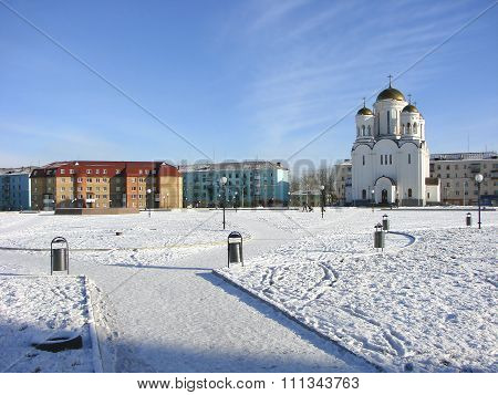 Preobrazhenskaya Square and the Temple of the Transfiguration of the Lord. Serov. Sverdlovsk region.