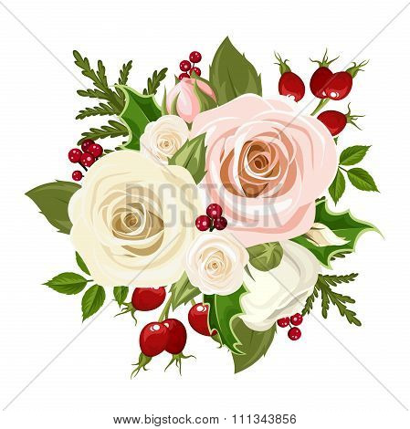 Christmas bouquet with pink and white roses, rosehip, holly and fir branches. Vector illustration.