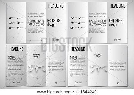 Vector set of tri-fold brochure design template on both sides with world globe element. Molecular st