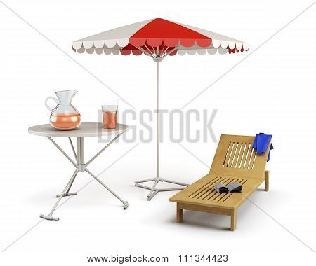 Table, Sun Lounger And Beach Umbrella - Place Of Rest On A White.