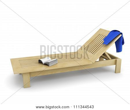 Wooden Sun Lounger With A Towel And Book. 3D Illustration.