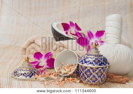 Thai Spa And Massage, Healthy And Beautiful On Bamboo Background