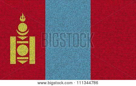 Flags Mongolia On Denim Texture.