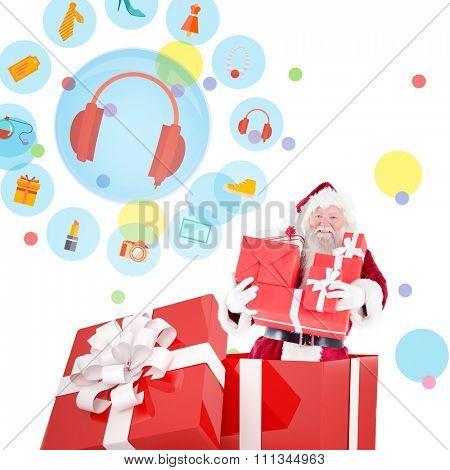 Santa standing in large gift against dot pattern