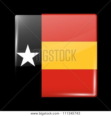 Timor-leste Variant Flag. Glassy Icon Square Shape