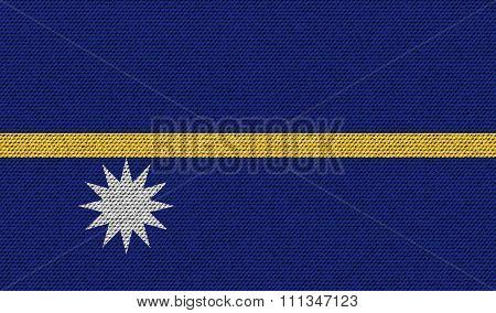 Flags Nauru On Denim Texture.