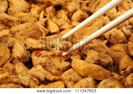 Braised chicken with chopsticks