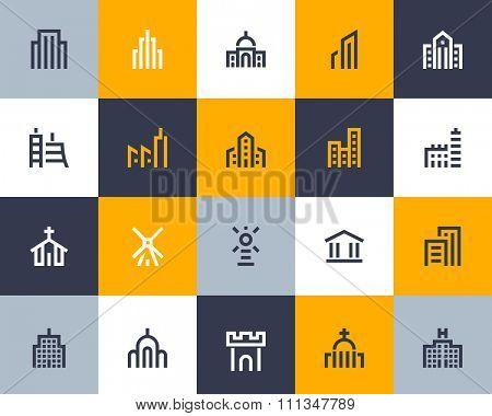 Building icon set. Flat series