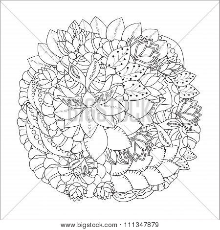 Stock Vector Doodle Pattern. Black And White