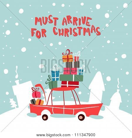 Christmass Gifts For Children On The Car