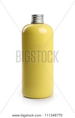 Yellow Blank Shampoo Container Isolated On White