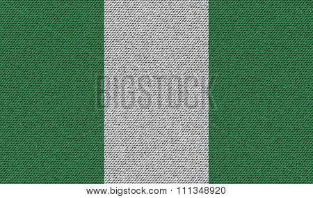 Flags Nigeria On Denim Texture.