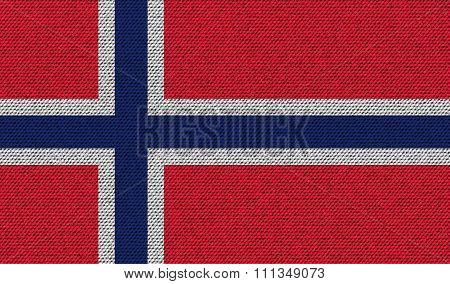 Flags Norway On Denim Texture.
