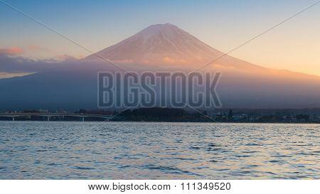 Sunset at Kawaguchi Lake in Japan with Mt Fuji