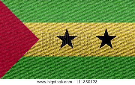 Flags Sao Tome Principe On Denim Texture.