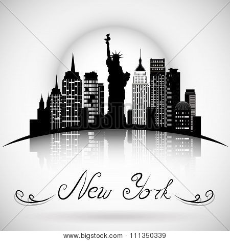 New York City skyline with reflection. Typographic Design