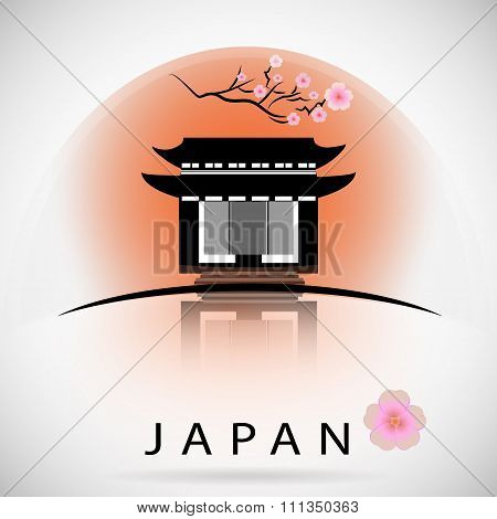 Japanese traditional building with sakura. vector silhouette