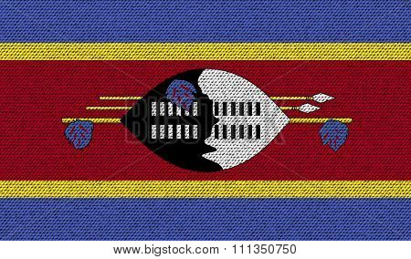 Flags Swaziland On Denim Texture.